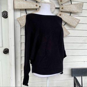Black Dolman Sleeve Soft Ribbed Sweater